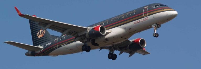 Most devices with lithium-ion batteries will need to be checked on planes such as this one belonging to Royal Jordanian