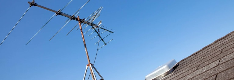 Antenna on a roof.