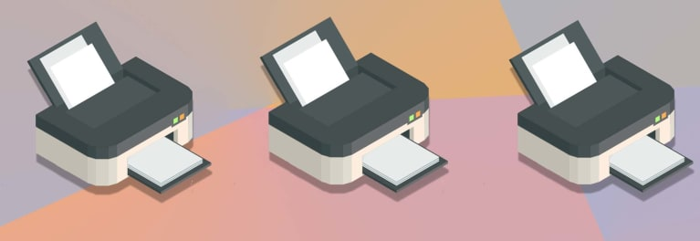 An illustration featuring three printers for a story on the best printers under $150.