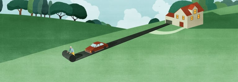 Senior Driving: Illustration of a man paving the way for a safe drive