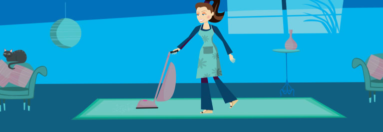 Illustration of woman vacuuming floor