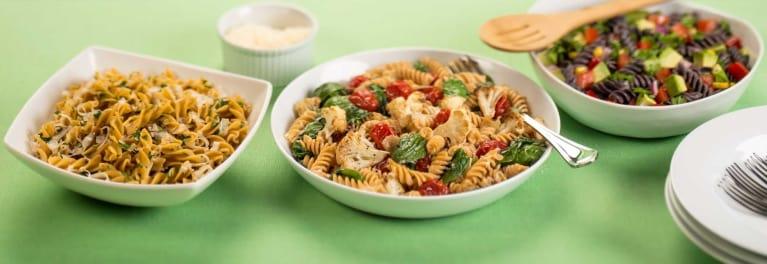 Three legume pasta dishes.