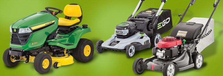 Three lawn mower types