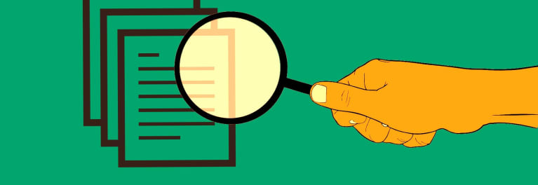 An illustration of a magnifying glass over documents.
