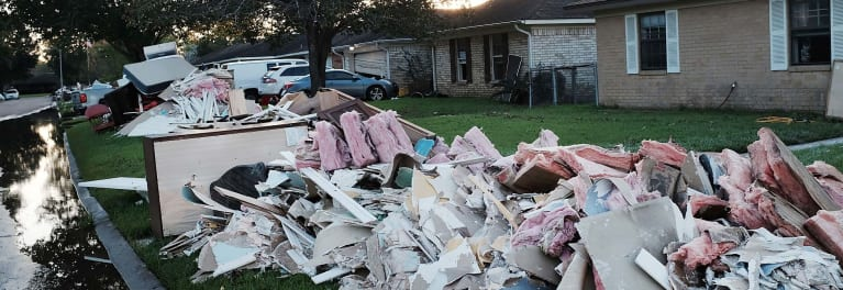Houses and debris after a hurricane.