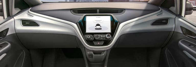 Cruise AV self-driving car with no steering wheel.