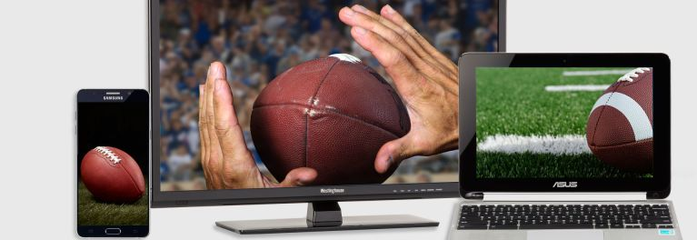 Photo of various ways to watch NFL games, including a smartphone, a TV, and a laptop computer.
