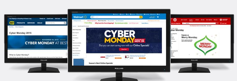 Photos of computer monitors showing Cyber Monday deals at Best Buy, Walmart, and Target.