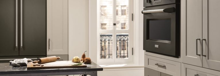 GE appliances with the new graphite finish.