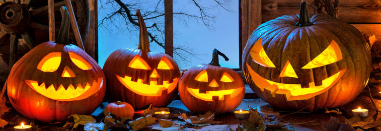 Pumpkin carving safety tips when making jack-o-lanterns like these.