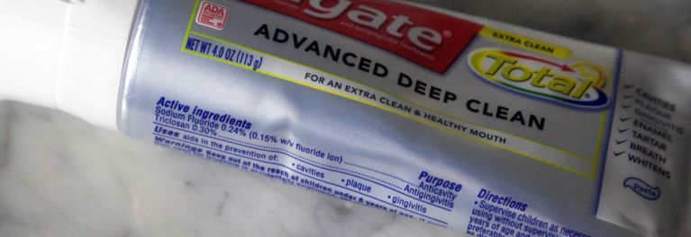 Toothpaste that contains triclosan.