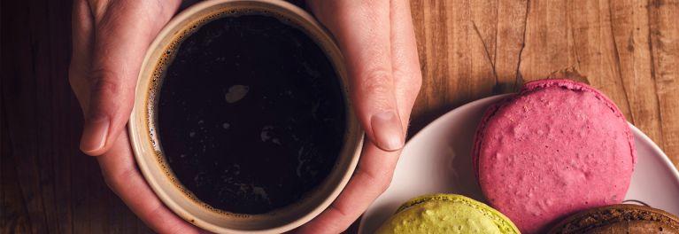 Coffee made in a Bella coffee maker.