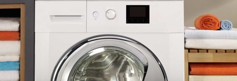 Large-capacity washing machines handle loads of laundry.
