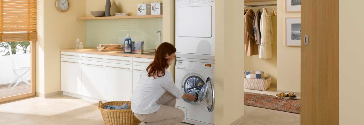 Bosch Compact Washer Can Be Stacked Like This Miele.