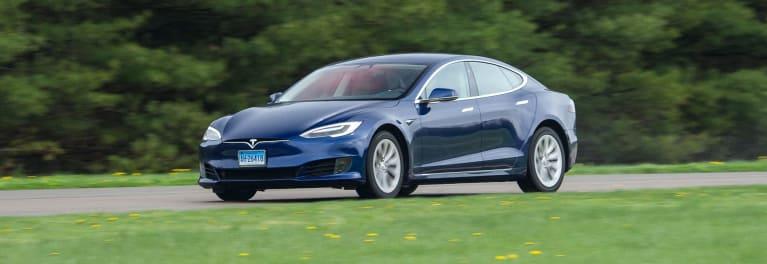 Tesla Model S driving at ATC