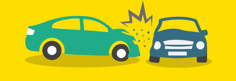 Illustration of one car crashing into another.