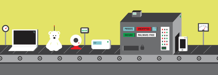 Products being tested for digital security and privacy in a factory