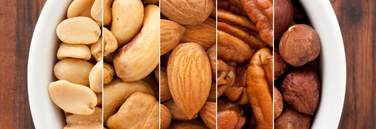 Four types of nuts.
