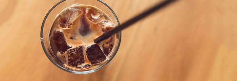 A glass of iced coffee.