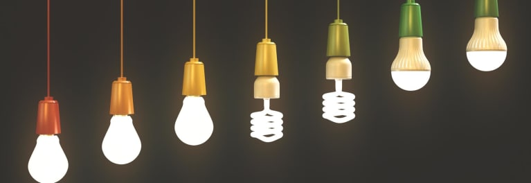 LED and CFL energy-saving lightbulbs.
