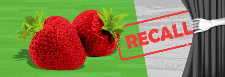An illustration featuring a recall sign and strawberries.