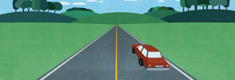 Driving Skills: Illustration of a car moving down a country road