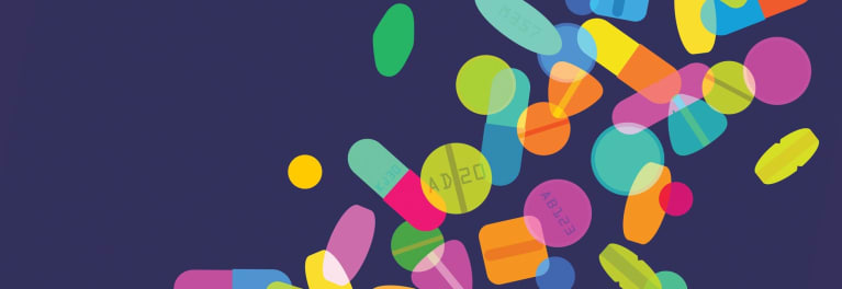 A colorful graphic of pills.