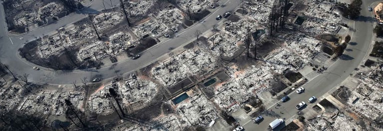 A satellite image of a neighborhood after a natural disaster.