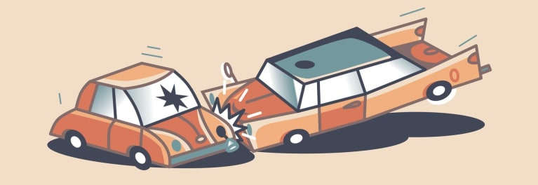 Illustration of a car crash where car insurance is needed.