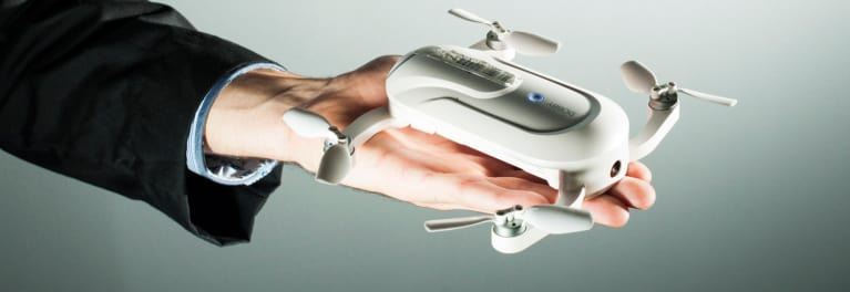 A ZeroTech Dobby pocket drone in the palm of a hand.