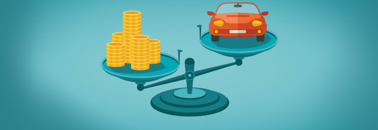 A car and coins on a scale to illustrate car loans.