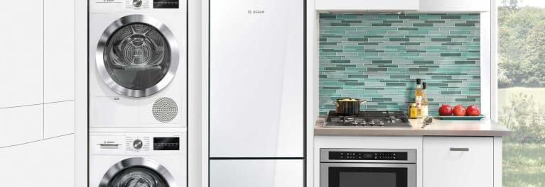 A compact kitchen with compact appliances.