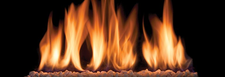 Fire burning in a gas fireplace.
