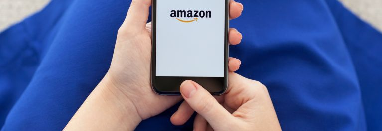 The Amazon app on a mobile phone, for Amazon Black Friday TV shopping article
