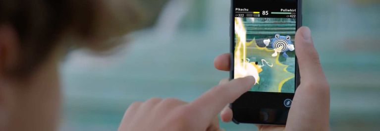 Pokemon GO being played by a young kid on a phone
