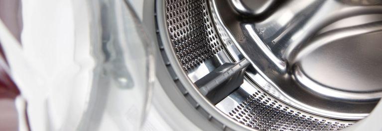 Inside a front-loader washing machine.