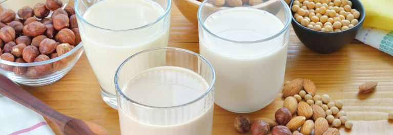 Almond milk and other nut milks with the nuts they're made from.