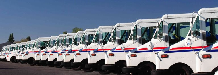U.S. Postal Service trucks often deliver packages at the lowest prices.