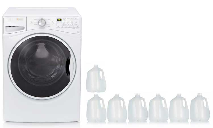 How much water should a washing machine use (front loader)