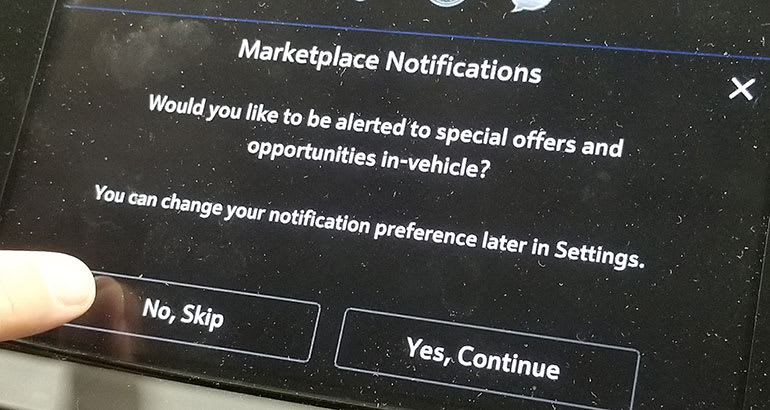GM Marketplace notifications in a Buick Enclave.