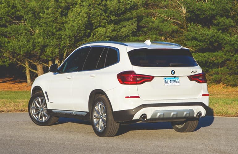 2018 BMW X3 rear three-quarters view.
