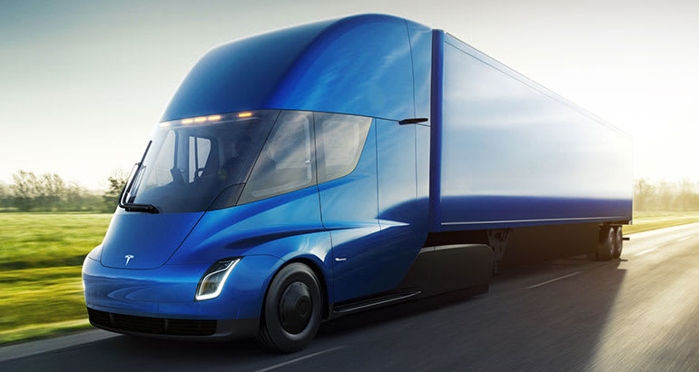 Tesla Semi electric truck driving