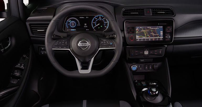 2018 Nissan Leaf interior.