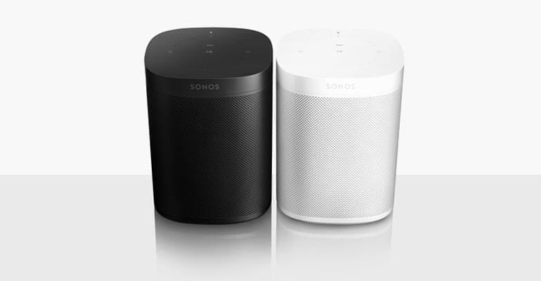 Photo of the Sonos One in black and white.