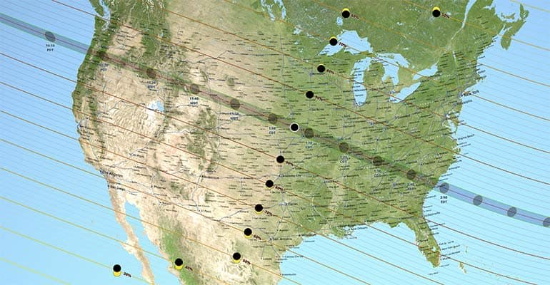 Want to watch the total solar eclipse? This NASA map shows the path of the event.