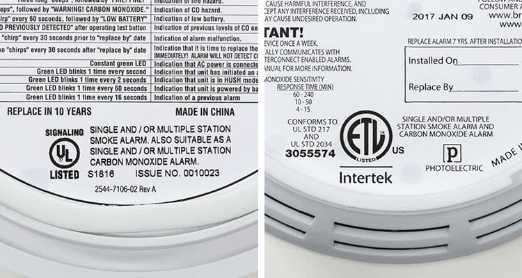 Labels you should look for on carbon monoxide alarms