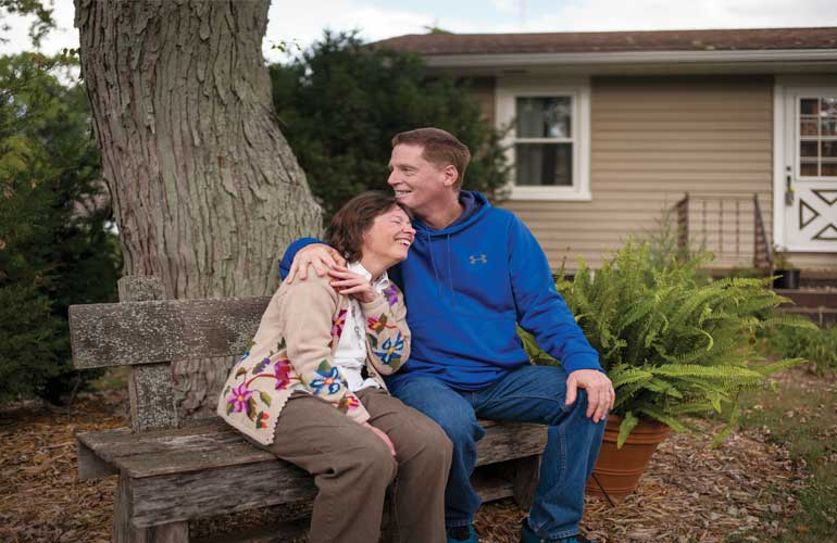 A show of support: Roger Halleen cares for his wife, Barbara, who has Parkinson's disease.