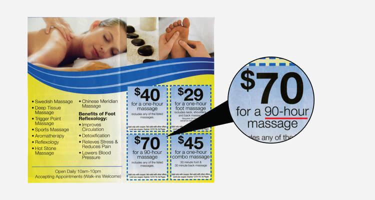 A photo of an advertisement for a 90 hour massage session for 70 dollars.