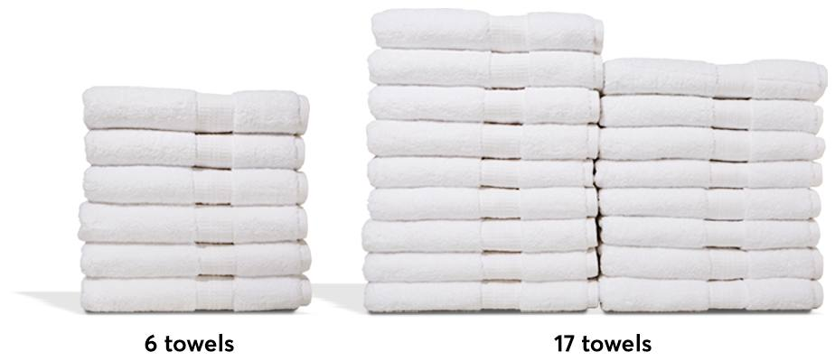 Two stacks of white towels. One with six and the other with 17 towels.