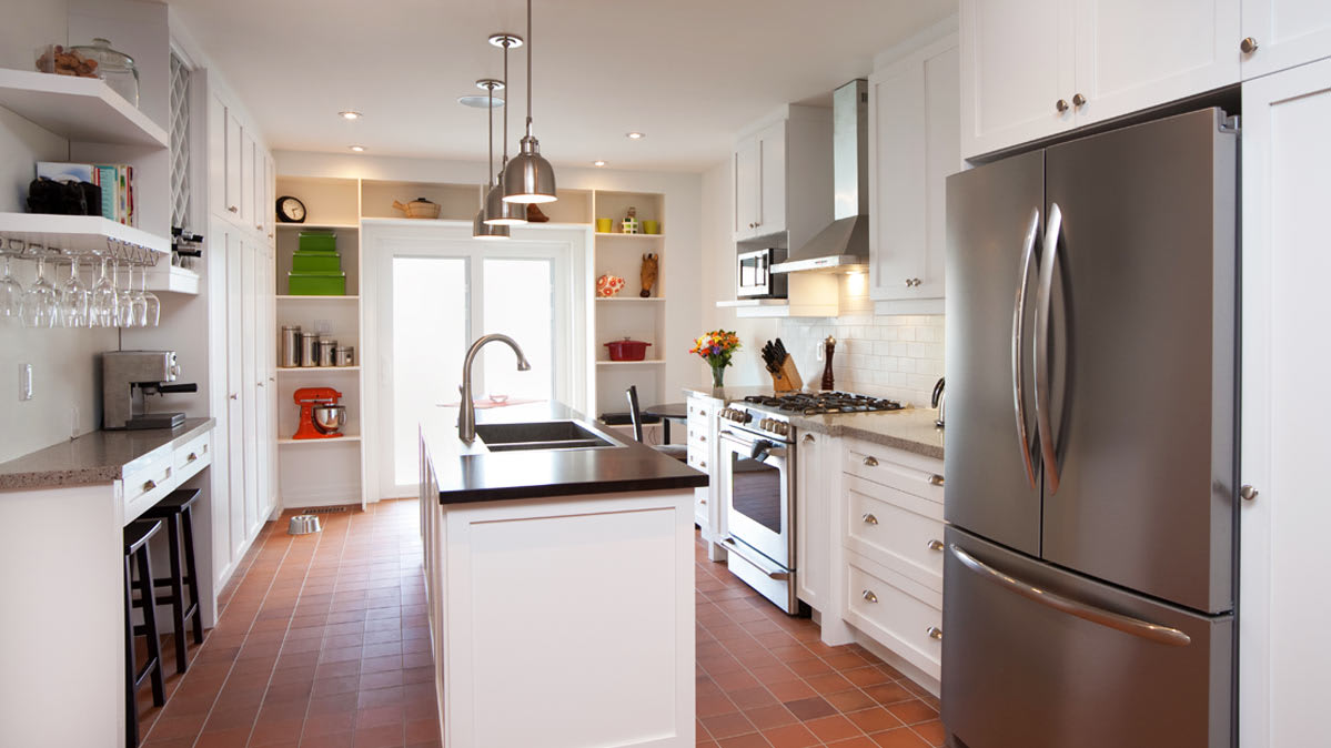 A French-door refrigerator in a stylish kitchen.